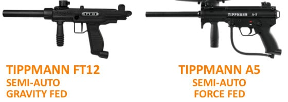 Shows two paintball guns available at CryWolf